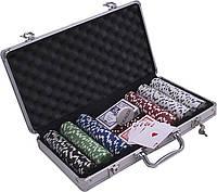 Покерный набор в алюминиевом кейсе (300 фишек, 2 кол. карт, 5 куб., р-р кейса 20х21х6,5 см.)