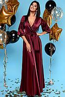 Богатое Струящееся Платье в Пол Шелковое Марсала S-XL, фото 1