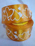 Лента атласная в сердечки 5 см,  1 метр-12 грн, фото 5