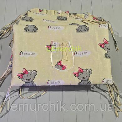 """Защита для детской кроватки 120х60 см, """"It's a girl"""" желтая"""