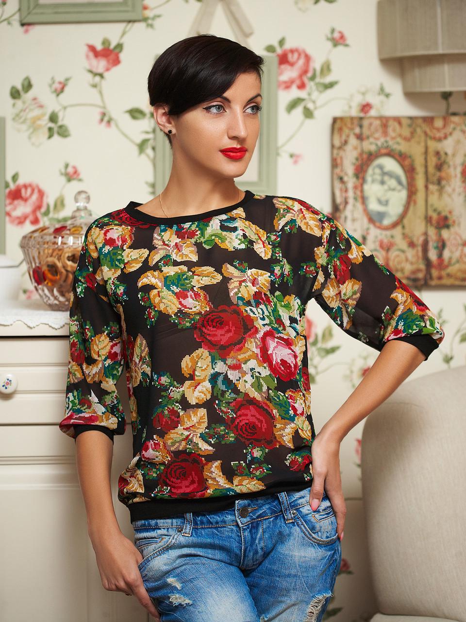 1306ad9eb1d Блуза цветочный принт 48р - Wellness-sistem - интернет магазин одежды и  обуви украинского производителя