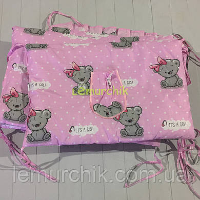 """Защита для детской кроватки 120х60 см, """"It's a girl"""" розовая"""