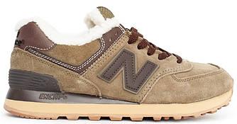 Мужские зимние кроссовки New Balance 574 'Green' (Нью Баланс) с мехом