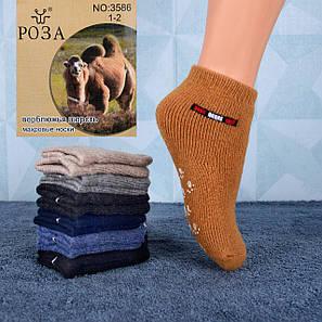 Детские короткие носочки с тормозами верблюжья шерсть с махрой Роза 3586 1-2 . В упаковке 12 пар.
