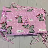 """Защита для детской кроватки 120х60 см, """"It's a girl"""" розовая, фото 1"""