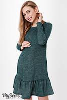 Теплое платье для беременных и кормящих KETTY, трикотажа трехнитка с начесом, цвет бутылка, фото 1