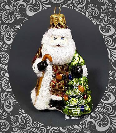 Стеклянная елочная игрушка Дед Мороз с елочкой, фото 2