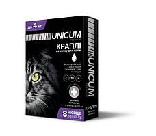 Капли Unicum premium от гельминтов, блох и клещей на холку для котов до 4 кг