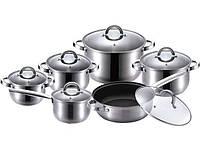 Набор кастрюль + сковорода с тефлоновым покрытием, kaiserhoff кн2107, посуда высокого качества, нержавейка