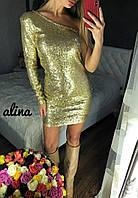 Стильное платье на одно плечико из дорогой пайетки на трикотажном подкладе, 6 цветов, р. С-М, код 8000Z