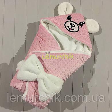 Конверт-одеяло минки на махре с ушками, нежно-розовый