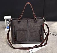 Большая женская сумка Серый, фото 1