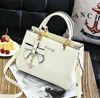 Модная женская сумка с брелком Бежевый, фото 1