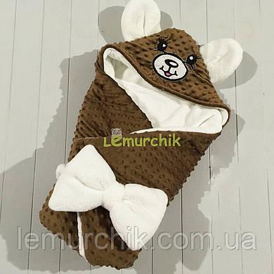 Конверт-одеяло минки на махре с ушками, коричневый