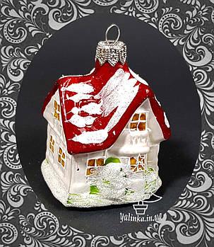 Стеклянная елочная игрушка Котедж, фото 2