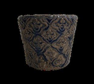 Кашпо синее горшок для цветов декоративный керамический