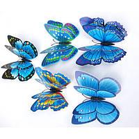 Виниловые 3d наклейки на стены бабочки Голубые (073911), фото 1