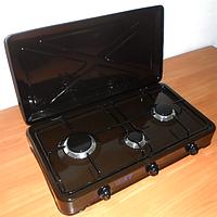 Плитка газовая st 63-010-11, настольная, 3 горелки, защитная крышка, регуляторы пламени, решетка, эмаль