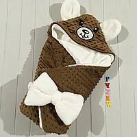 Конверт-одеяло минки на махре с капюшоном и ушками, коричневый