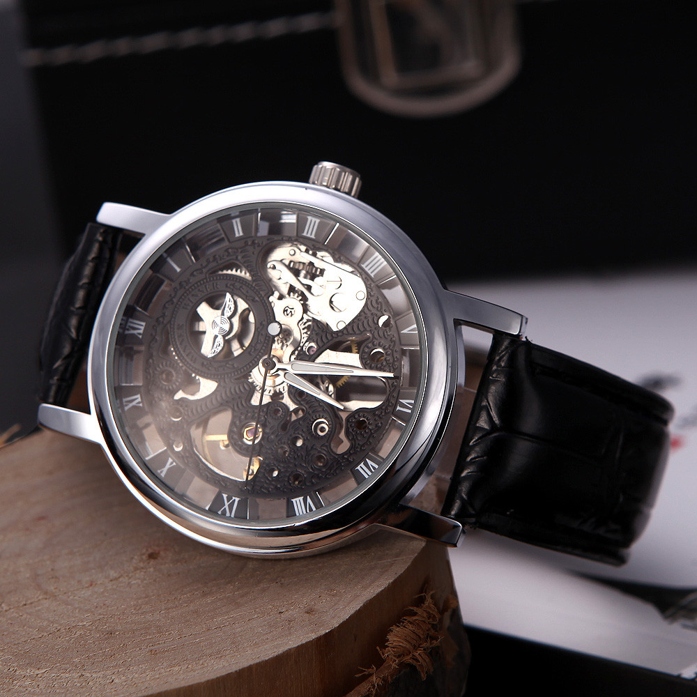 Часы скелетон WINNER Black, механические