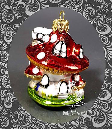 Стеклянная елочная игрушка Грибок-теремок, фото 2