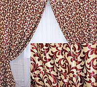 """Комплект готовых штор  блэкаут """"Вензель"""", двусторонний. Цвет бордовый 073ш (Б)"""