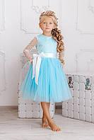 Детское нарядное платье с поясом, фото 1