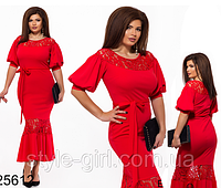 Вечернее красное платье вставки сетка с вышивкой 825612