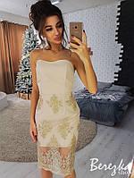 Роскошное женское вечернее платье-футляр (кружево, креп костюмка, без рукавов, открытые плечи) РАЗНЫЕ ЦВЕТА!, фото 1