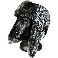 Шапка-ушанка зимняя камуфляж зимний камыш