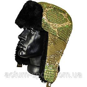 Шапка-ушанка зимняя камуфляж варан