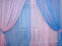 """Комплект из шифона. """"Инь Янь"""" Цвет голубой с розовым 010дк 4 шторки по 1.5м."""