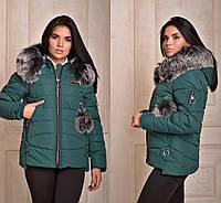 Теплая укороченная куртка с мехом в расцветках 105 (184) d847f8e6d613d