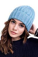 Зимова шапка кольору аквамарин, фото 1