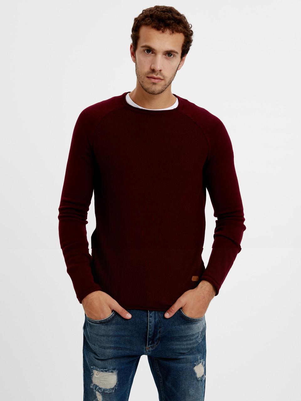Бордовый мужской свитер LC Waikiki / ЛС Вайкики с круглой горловиной