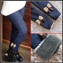 Теплые зимние детские лосины-джинсы с мехом для девочек размер 100, длина 57 см