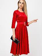 Женское врасклешенное велюровое платье (Трисса велюр leо)