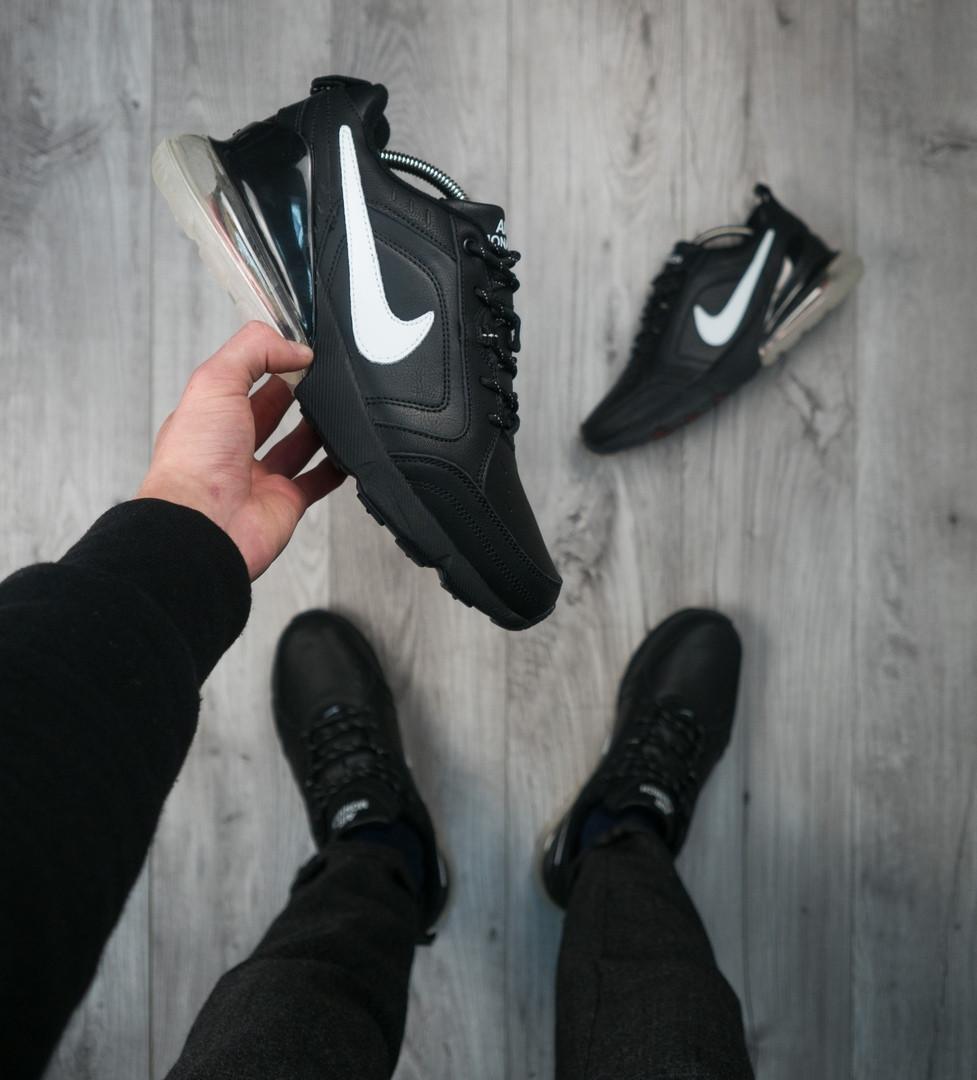 Кроссовки мужские на меху Nike Air Max 270 Монарх черные с белым знаком топ реплика