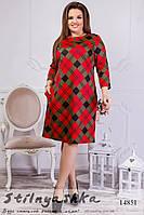 Стильное платье для полных Пуговки клетка красная, фото 1