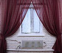 Комплект декоративных штор из шифона, цвет бордовый. 006дк