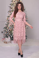 Вечернее гипюровое Платье цвета пудры, фото 1