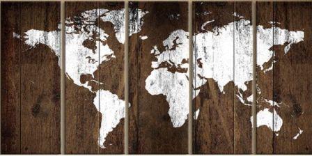 """Оригинальное панно на стену из дерева- """"Карта мира"""" из дерева 3*1,5м"""
