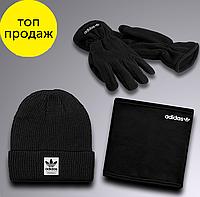 Набор Шапка + Баф + Перчатки Adidas Original Адидас Ориджинал (Черный)