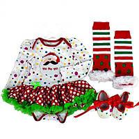 """Бодик девочке новогодний нарядный младенцу """"Санта"""" белый в горох костюм бодик гетры пинетки"""
