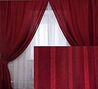"""Комплект готовых штор коллекция """"Лен Мешковина"""" Цвет бордовый, код 112ш"""
