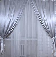 Шторы из ткани атлас. Цвет серый с белым. Код 009дк