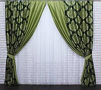 Комбинированные шторы из ткани блекаут.Код 014дк(096-239)