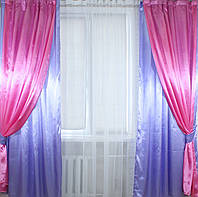 Комплект декоративных портьер, цвет сиреневый с розовым 005дк