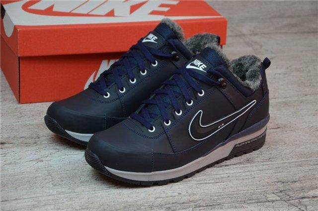 f5e47303 Мужские кожаные зимние кроссовки Nike 12235 синий - купить по лучшей ...