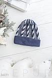 Зимняя ангоровая шапка синего цвета, фото 2